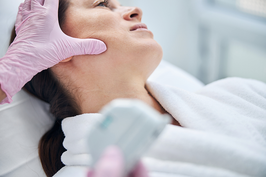 Patient's skin getting checked by the best dermatologist in Melbourne