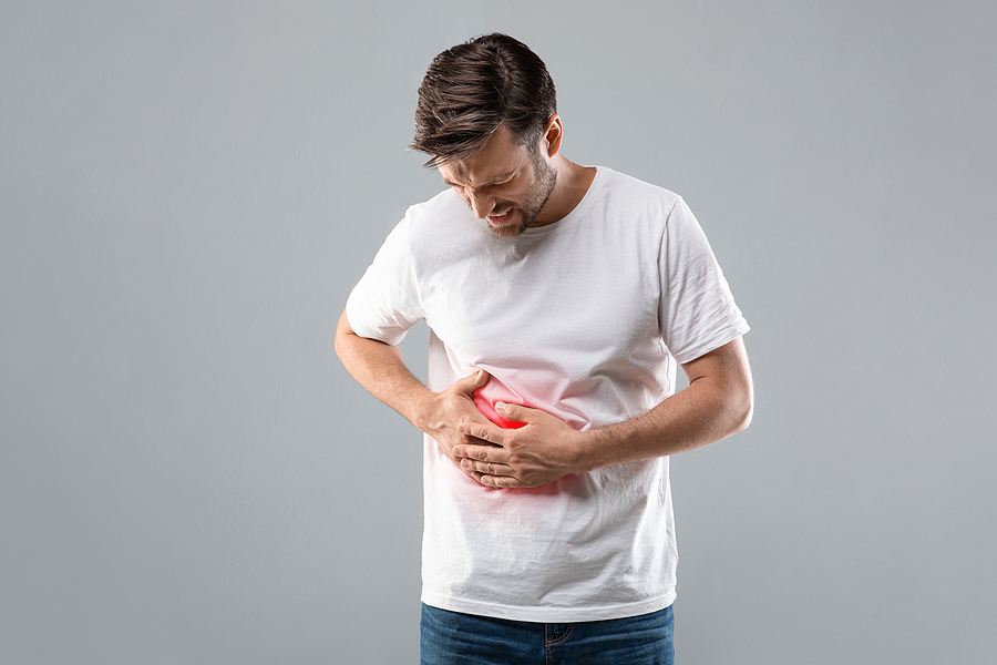 Man suffering from liver pain